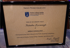 Irish Federation of University Women Trinity Women Graduates Public Speaking Competition