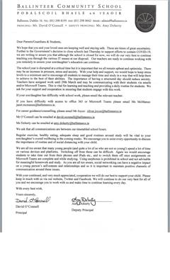 Letter to Parents/Guardians and students