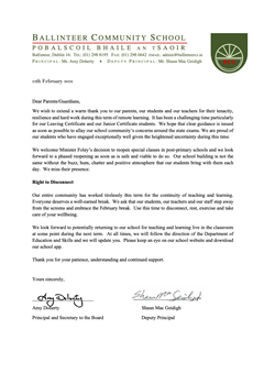 Letter to Parent/Guardians February 2021